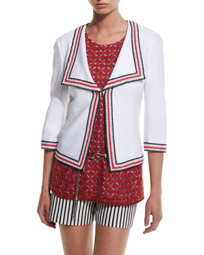 Clair Striped-Trim 3/4-Sleeve Jacket, Bianco/Multi