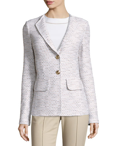 Caillou Tweed Rever-Collar Blazer, Sand/Multi