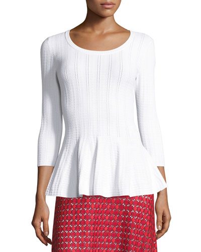 Icacos Peplum 3/4-Sleeve Sweater, Bianco