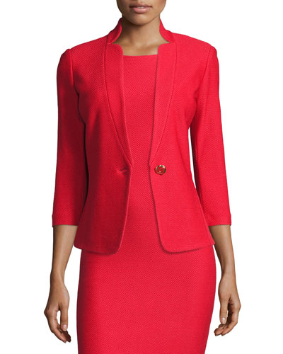 Lattice Pique Knit 3/4-Sleeve Jacket, Hibiscus