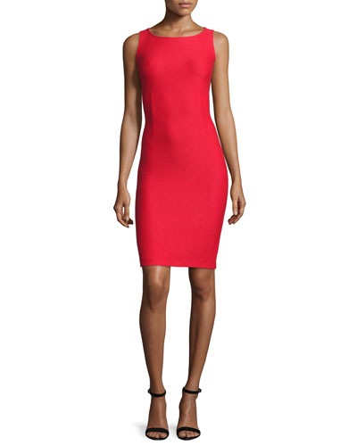 Lattice Pique Knit Bateau-Neck Dress, Hibiscus