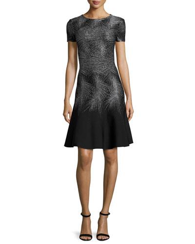 Metallic Palm-Jacquard Short-Sleeve Dress, Caviar Gunmetal