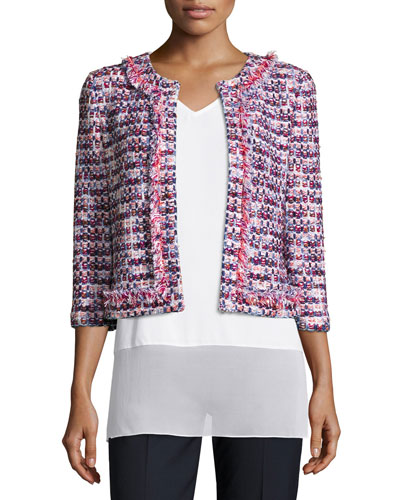 Montserrat Fringe-Trim Tweed Jacket, Bianco/Multi