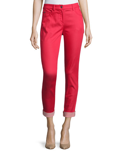 Bardot Slim-Fit Capri Jeans, Hibiscus