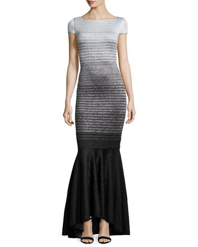 Metallic Degrade Peekaboo Cap-Sleeve Gown, Caviar/Gray/Silver
