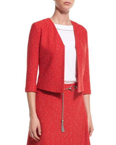 Cavalla Knit 3/4-Sleeve Jacket, Hibiscus/Multi