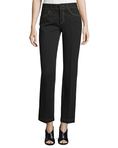 Topstitched Slim-Leg Pants, Black