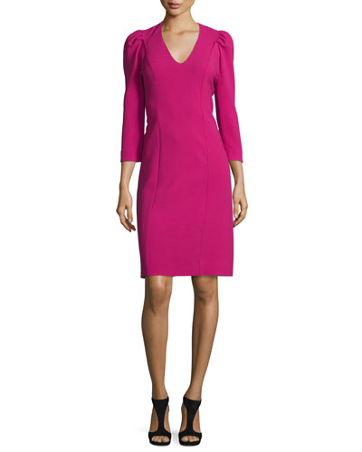 3/4-Sleeve Puff-Shoulder V-Neck Dress, Fuchsia