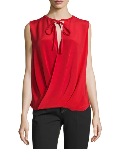 Draped-Front Sleeveless Blouse, Red