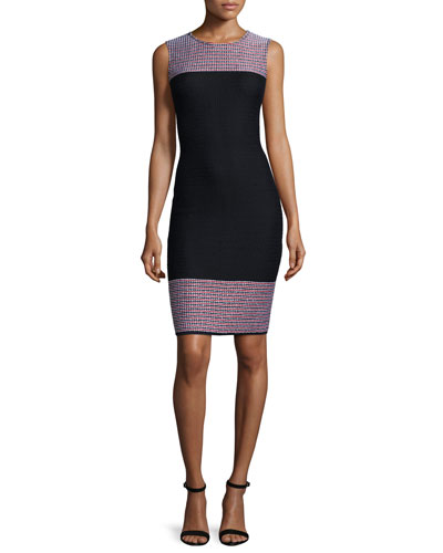 Martinique Placed Tweed Sleeveless Dress, Caviar/Multi