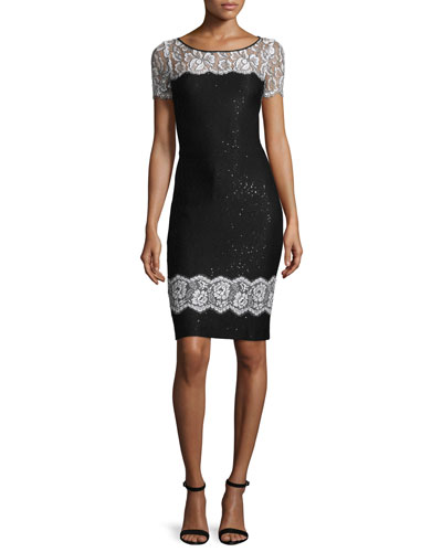 Lace-Trim Sequined Knit Short-Sleeve Dress, Caviar/Bianco