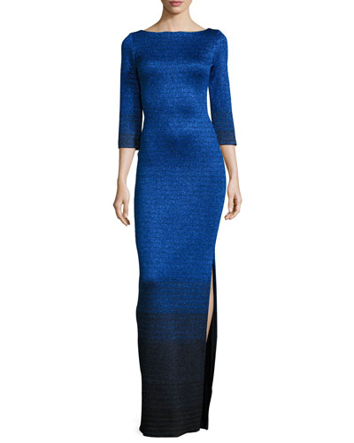Metallic Degrade Peekaboo 3/4-Sleeve Gown, Azzurine/Multi