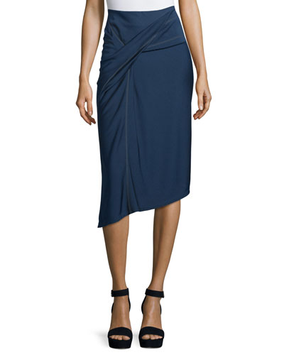 Side-Knot Draped Skirt, Navy