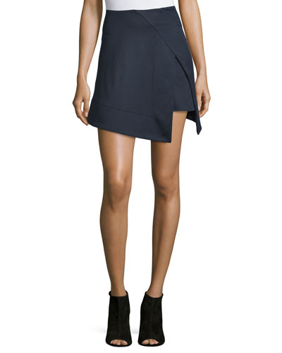 Asymmetric Trompe l'Oeil Mini Skirt, Navy
