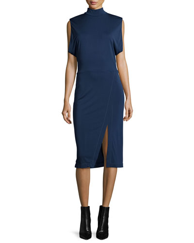 Sleeveless Draped-Arm Keyhole Dress, Navy