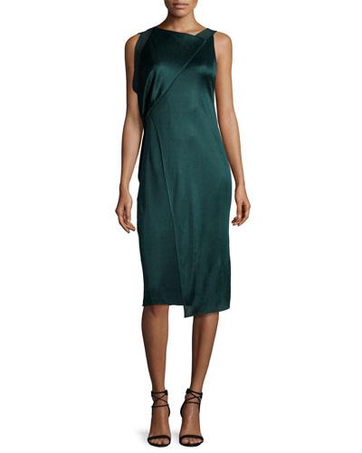 Asymmetric Draped Sheath Dress, Emerald