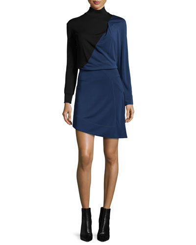 Long-Sleeve Bicolor Mini Dress, Black/Blue