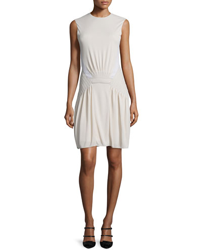 Sleeveless Stitched-Waist Dress, Cream