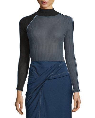 Ribbed Mock-Neck Long-Sleeve Sweater, Gray/Celeste/Black