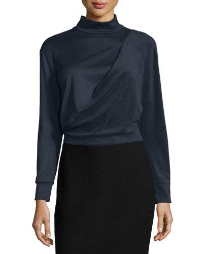 Long-Sleeve Bias Drape Cropped Top, Navy
