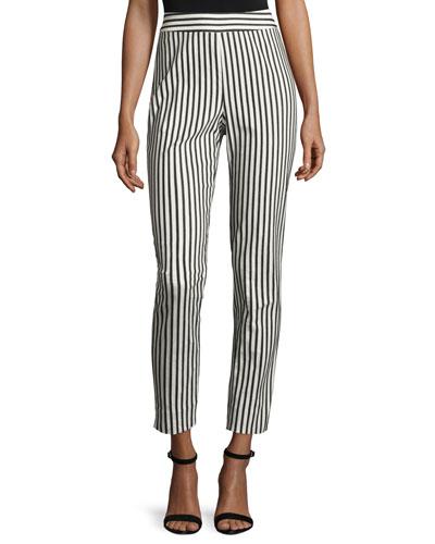 Emma Cabana-Stripe Denim Ankle Pants, Caviar/Bianco
