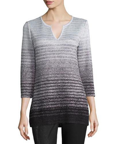 Metallic Degrade Peekaboo 3/4-Sleeve Tunic, Caviar/Gray/Silver