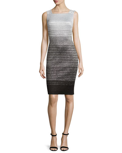 Metallic Degrade Peekaboo Sleeveless Dress, Caviar/Gray/Silver