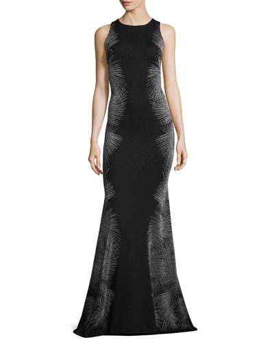 Metallic Palm Sleeveless Mermaid Gown, Caviar/Gunmetal