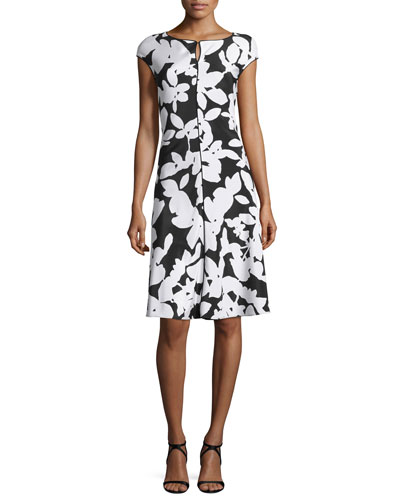 Abstract Floral Cap-Sleeve Dress, Caviar/Bianco