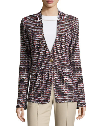 Curacao Tweed Notch-Collar Jacket, Caviar/Multi