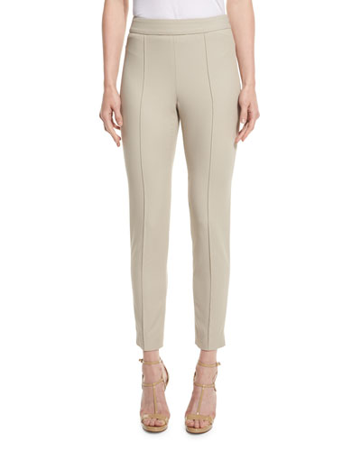 Emma Stretch-Pique Ankle Pants, Quartz