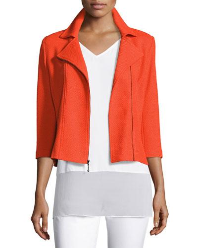 Trellis Knit 3/4-Sleeve Moto Jacket, Tangerine