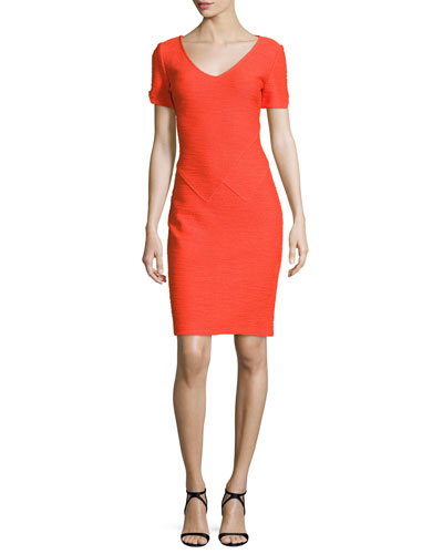 Catalina Knit V-Neck Short-Sleeve Dress, Tangerine