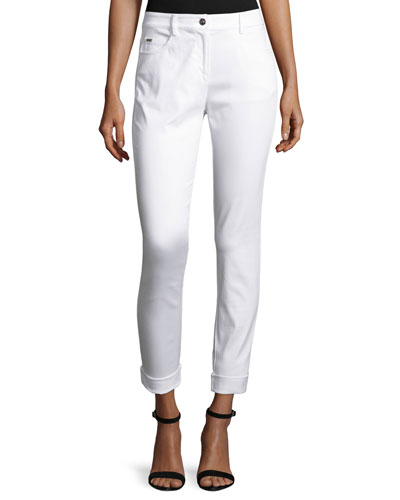 Bardot Slim-Fit Capri Jeans, Bianco