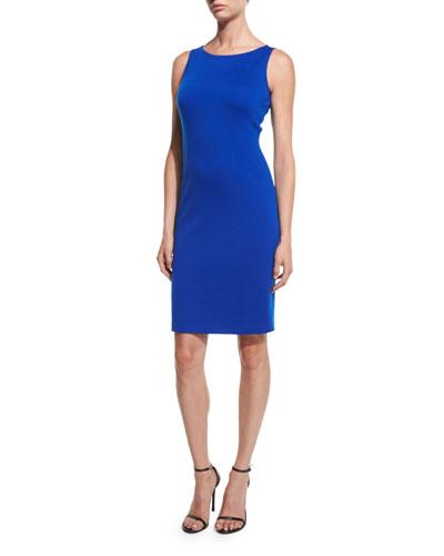 Milano Bateau-Neck Sheath Dress, Azzurine