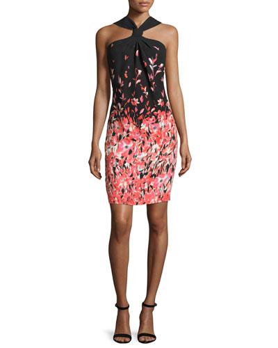 Degrade Floral Silk Halter Dress, Caviar/Multi