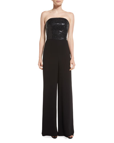 Strapless Sequined Wide-Leg Jumpsuit, Caviar
