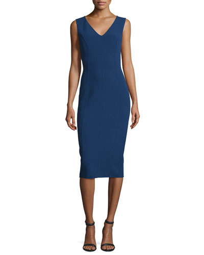 Sleeveless V-Neck Sheath Dress, Sapphire
