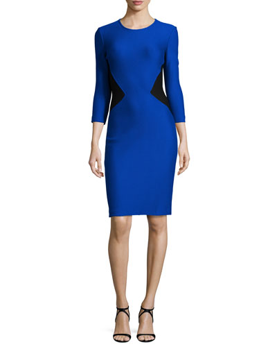 Mauresque Knit 3/4-Sleeve Dress, Azzurine/Caviar