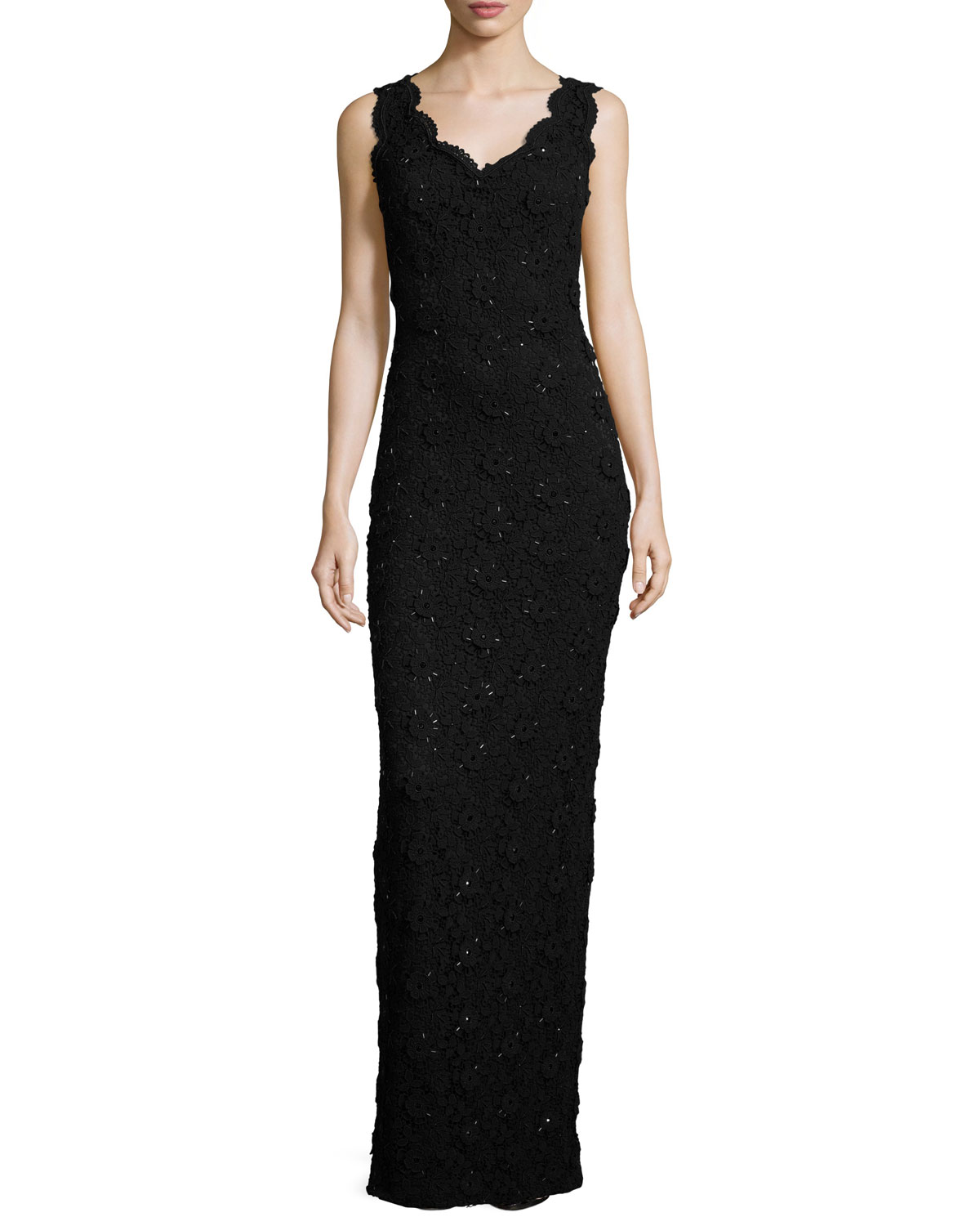 Beaded Floral-Lace V-Neck Gown, Caviar