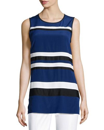 Striped Crepe de Chine Sleeveless Tunic, Vivid Denim/Multi