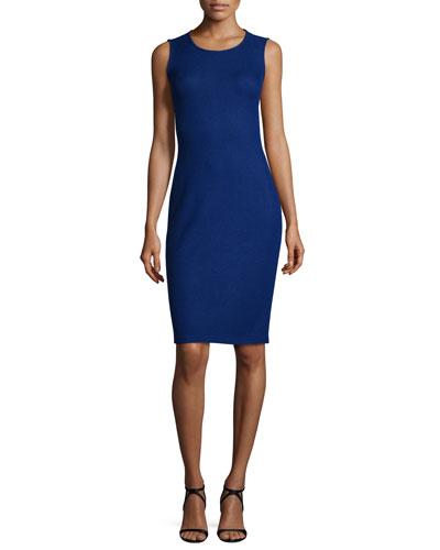 Trellis Knit Jewel-Neck Sheath Dress, Vivid Denim
