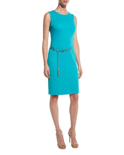 Milano Pique Knit Jewel-Neck Sheath Dress, Laguna