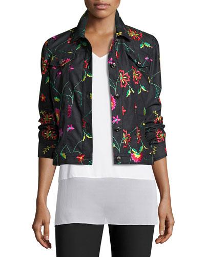 Embroidered Floral-Vine Denim Jacket, Denim/Multi