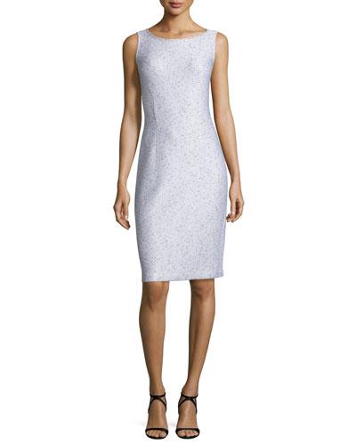 Sparkle Twilight Knit Sleeveless Dress, Silver