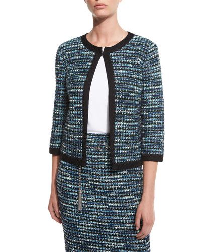 Martinique 3/4-Sleeve Tweed Jacket, Caviar/Laguna/Multi