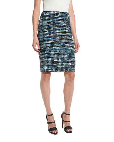 Martinique Tweed Pencil Skirt, Caviar/Laguna/Multi
