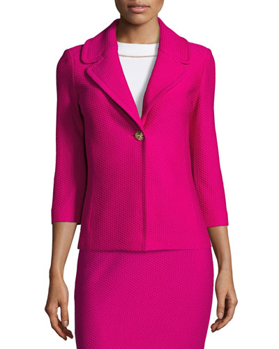 Honeycomb-Knit 3/4-Sleeve Jacket, Orchid