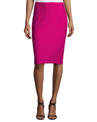 Honeycomb-Knit Pencil Skirt, Orchid