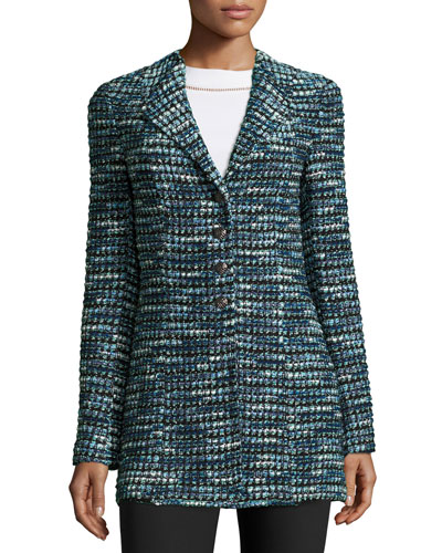 Martinique Tweed Long Jacket, Caviar/Laguna/Multi